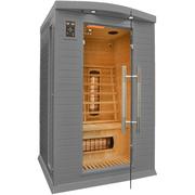 ИК сауна представляет собой кабину (шкаф),  выполненную из массива дере